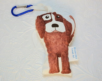 Brown Puppy Backpack Buddy Pocket Pet mini plushie with carabiner clip
