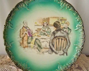 Antique Dickens Charger Plate Rare Mrs Micawber David Copperfield Large Green Pottery Wall Plate C D Gibson Charles Dickens Circa 1880