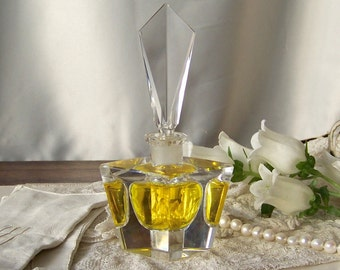 Vintage Art Deco Crystal Glass Perfume Bottle with Stopper Vintage 1940s