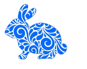 Swirl Rabbit SVG or Silhouette Instant Download