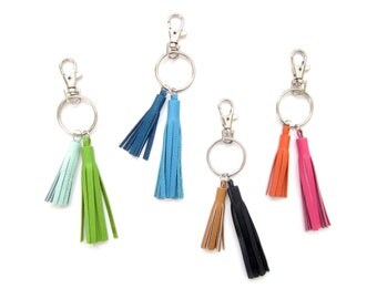 Double Tassel Key Ring | Colorful Leather Tassels Key Chain | Bridesmaid Gift Keychain | Tassle Purse Charm | Bright Keychain | Key Clip