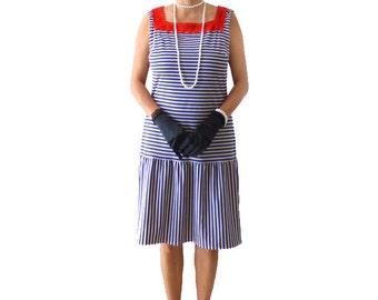 Retro Flapper Dress, Retro Sailor Dress , Great Gatsby, Dark Blue Stripe Dress, Costume, 1920s Dress, Roaring 20s ,Downton Abbey, Navy Lines