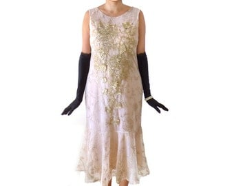 Great Gatsby Dress,Art Nouveau Dress ,Flapper Dress, Costume,Roaring 20s,Cocktail, 1920s Dress, Gold Lace Floral Embroidery, Downton Abbey
