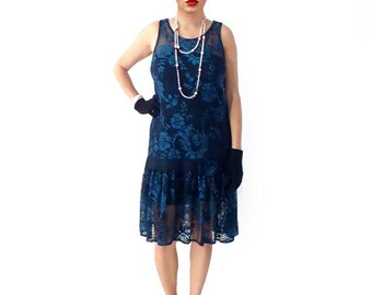 Retro 1920s Dress, Flapper Dress, Great Gatsby Dress, Roaring 20s Dress, Downtown Abbey Dress, Flapper Costume, Blue Floral Lace Cocktail