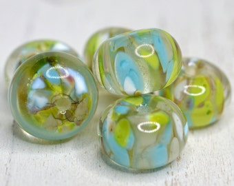 lampwork beads... SRA handmade, encased classic frits (desert spring) set  (of 6 beads) for making jewelry 91816-4