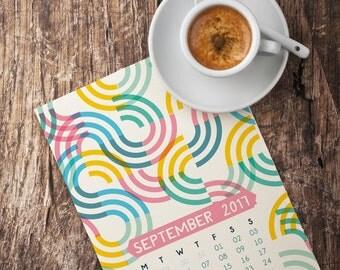 Printable 2017 Calendar Neon 80s Geometric Patterns Desk Calendar