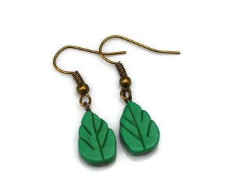 Green Turquoise Carved Leaves . Earrings