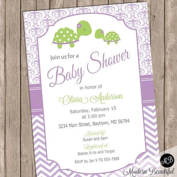 Purple turtle baby shower invitation baby girl shower invitation il570xn filmwisefo