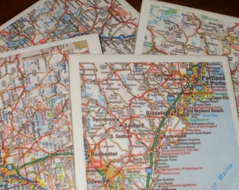 Maine Road Map Coasters...Set of 4...Full Cork Bottoms not Felt...For Drinks or Candles