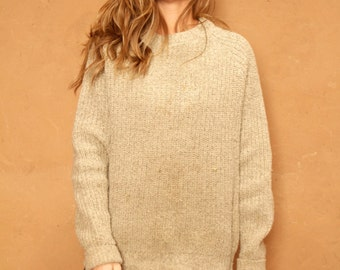 90s OXFORD tan thick CREW neck sweater vintage women's 90s twin peaks