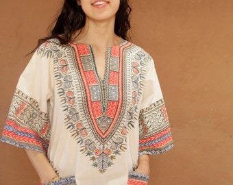 60s 70s BOHO bright spring summer DASHIKI oversize slowing top blouse