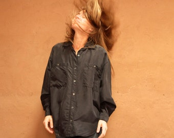 90s BLACK silk OVERSIZE long sleeve SLOUCHY front pocket shirt