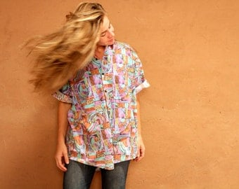 versace style 90s large top abstract SURF slouchy WILD baroque oversize blouse shirt