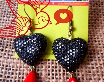 Black Resin Shinny Hearts and Red Crystal Drop Beads- Mexican Earrings / Jewelry by Laura Gomez