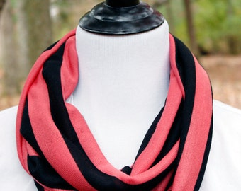Coral Pink and Black Striped Infinity Scarf