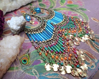 "5"" Long Colorful Indian Bohemian Chandelier Earrings, Exotic Hippie Jewelry, Bollywood, Gold or Bronze Hoops, Aqua Blue, Orange, Green & Red"