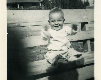 "Vintage Photo ""Happy Flappy Arms"" Smiling Baby Children Snapshot Old Photo Black & White Photograph Found Paper Ephemera Vernacular - 111"