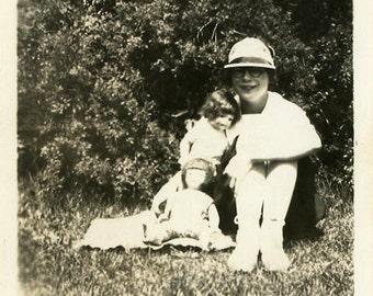 "Vintage Photo ""Make Believe Children"" Snapshot Photo Old Antique Photo Black & White Photograph Found Photo Paper Ephemera Vernacular - 15"