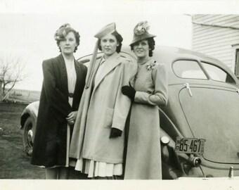 "Vintage Photo ""Fancy Heads"" Snapshot Photo Old Antique Photo Black & White Photograph Found Photo Paper Ephemera Vernacular - 138"