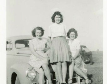 "Vintage Photo ""Magnetic Car"" Three Cute Girls on Hood Snapshot Photo Antique Black & White Photograph Found Paper Ephemera Vernacular - 192"