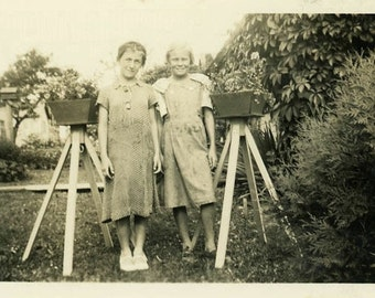 "Vintage Photo ""Fruit Pickers"" Children Girls Farm Snapshot Antique Photo Black & White Photograph Found Paper Ephemera Vernacular - 102"