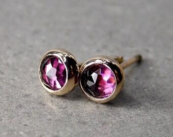 Rose Cut Rhodolite Garnet & 14K Gold Stud Earrings