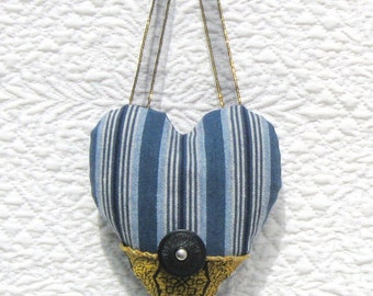 Denim Valentine stripe heart ornament with gold brocade and vintage button