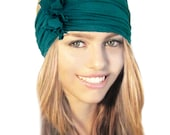 Emerald Green Headband Stretch Chunky Wide Artisan Boho Chic Bad Hair Day Exercise Yoga Hair Bands Head Wrap Teal Grey Black White Cotton