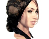 Black Lace Fancy Summer Head Scarf Tichel Hair Snood Chemo Hat Cap Chemo Turban Pre Tied Bandana Special Occassions Bad Hair Day ShariRose