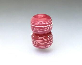 Purple lampwork glass bead pair Raspberry pink bead pair Round purple bead pair pink Earring pair Cocoon pink Anne Londez SRA