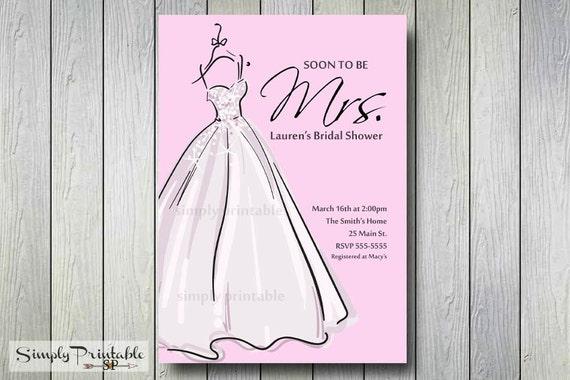 Bridal Shower Invitation,Bride Dress Pink, Soon to be Mrs, Bridal Shower Invite, Baby Shower Invitation, Printed Invites, Birthday