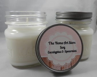 Soy - Eucalytus & Spearmint - 8 oz Mason Jar Candle