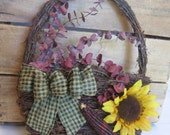 "Rustic Fall Wreath, Fall Basket Wall Decor, 12"" Wreath, Small Space Wreath, Primitive Sunflower Wreath, Harvest Wreath SnowNoseCrafts"