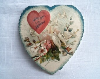 Vintage Victorian Valentine Doves Heart Shaped Folding