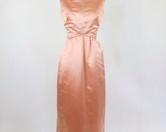 1960s Mollie Parnis Pink Silk Evening Gown