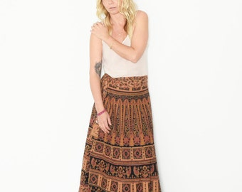 Vintage India Block Print Maxi Skirt , BOHO Hippie Wrap Skirt