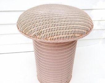 Vintage Wicker Stool | Vanity Bench | Occasional Table | Pink Chair | Rattan Stool | Mushroom Stool