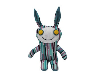 Stuffed Worry Doll, Bunny Monster Plush, Handmade Bunny Doll, Plush Fabric Monster, Unique Kids Toy, Spooky Doll, Happy Monster Olivia