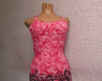 50's Vintage Hawaiian Tropical Cotton Swimsuit sm/med