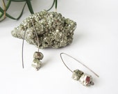 Shimmery Pyrite Earrings - Rock Crystal Mineral Jewelry - Gift for Her