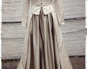 Ivory Damask Long, Fitted Edwardian Wedding Coat