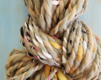 Bulky Yarn Beige Black White Yellow Pink Handspun thick n thin Wool Alpaca soft knitting supplies Ribbon crochet supplies fiber arts
