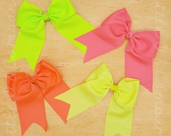 """8"""" Neon Bow  - Cheer Bow -  Neon Hair Bow - 8"""" Bow - Mix & Match Colors - Ready To Ship - Grosgrain Bow"""