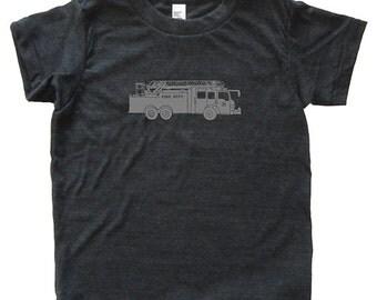 Firetruck Tshirt - Kids Fire Engine Truck Fireman Shirt - Tee - Youth Boy Shirt / Super Soft Kids Tee Sizes 2T 4T 6 8 10 12 - Triblend Gray