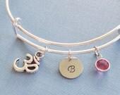 Om Bracelet, Ohm, Aum, Yoga, Initial Bangle, Silver Bangle, Personalized, Expandable, Charm Bracelet,Birthstone Bracelet,BFF Friend,Birthday