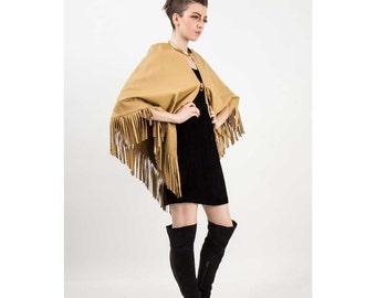 Leather fringe poncho / Vintage cape / Short fringe boho shawl S M