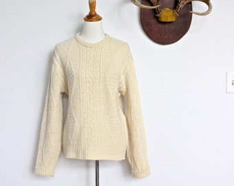 Vintage Pendleton Fisherman's Sweater // Wool Cable Knit Sweater Ivory // Women's Oversized Medium