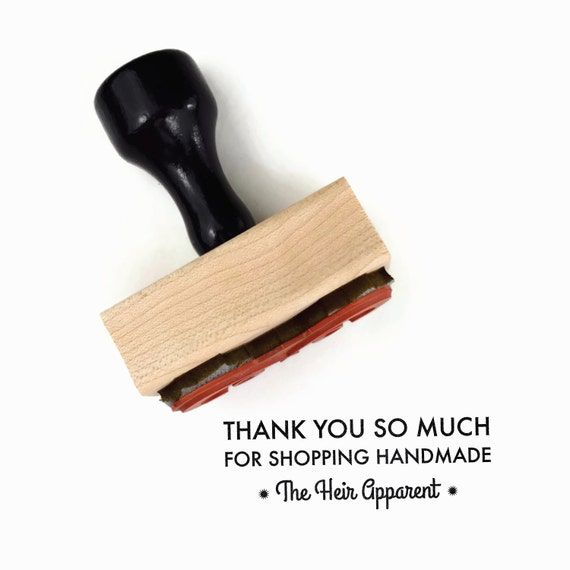 "Custom Thank You Rubber Stamp - ""Thank You So Much For Shopping Handmade"" from Your Business - Wood Mounted Rubber Stamp"