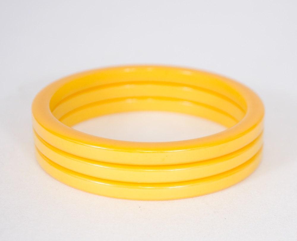 1940s vintage bracelets bakelite bangle stack yellow