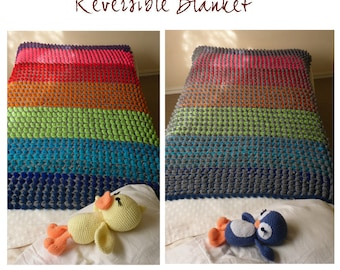 Crochet Blanket crochet pattern -  Crisol colorful reversible unique stitch - photo tutorial - Instant DOWNLOAD